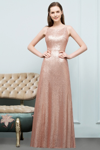 Wonderful Spaghetti Straps Sequined A-line Evening Dress_9
