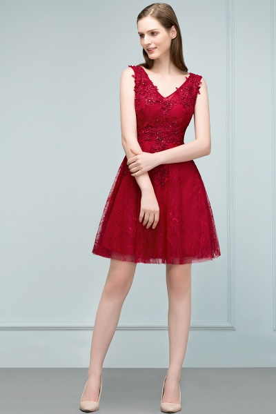 Best V-neck Tulle A-line Evening Dress_10