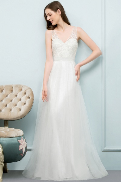 Fabulous V-neck Tulle A-line Evening Dress_4