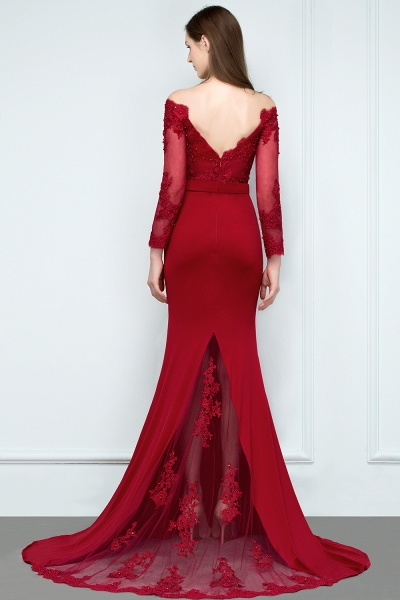Attractive Off-the-shoulder Satin Mermaid Evening Dress_3