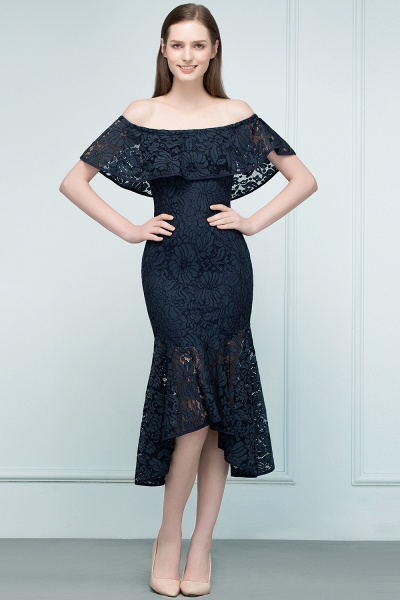 Affordable Off-the-shoulder Lace Mermaid Evening Dress_5