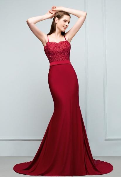 Modest Spaghetti Straps Stretch Satin Mermaid Evening Dress_9