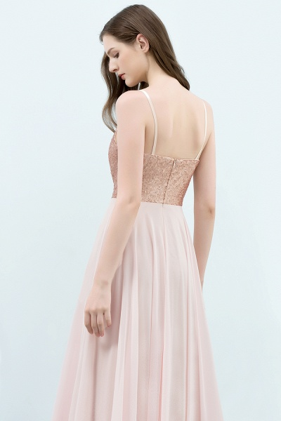 A-line Chiffon Sequined Spaghetti Straps Sleeveless Floor-Length Bridesmaid Dress_5