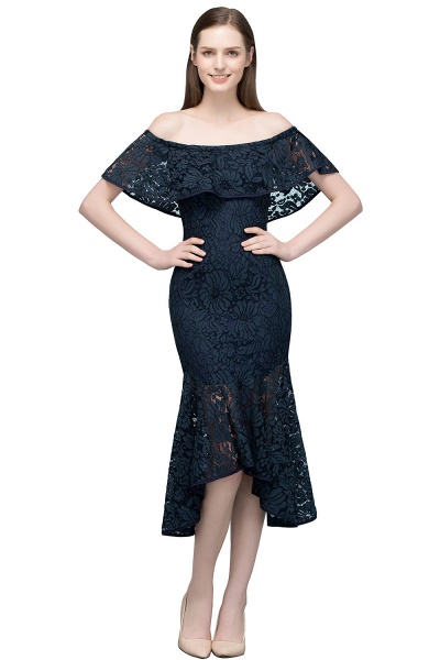 Affordable Off-the-shoulder Lace Mermaid Evening Dress_2