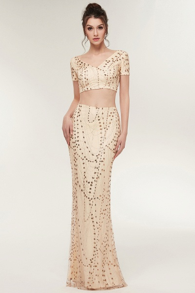 ZANDRA | Mermaid Two-piece V-neck Floor Length Short Sleeves Champagne Prom Dresses with Sequins_6
