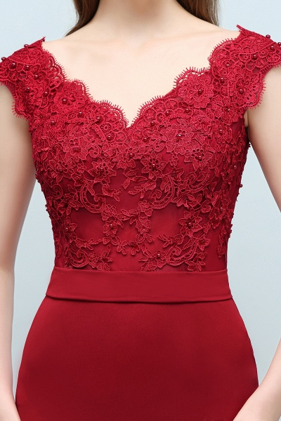 Affordable V-neck Stretch Satin Mermaid Evening Dress_7