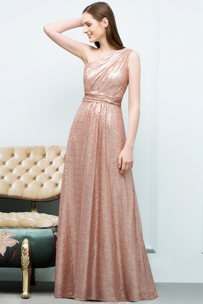 Awesome One Shoulder Sequined A-line Evening Dress_8
