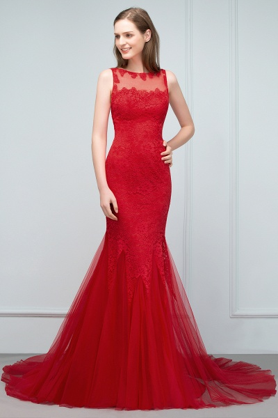 Chic Jewel Tulle Mermaid Evening Dress_9