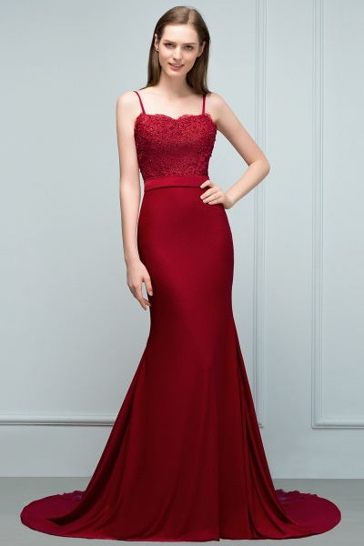 Modest Spaghetti Straps Stretch Satin Mermaid Evening Dress_6