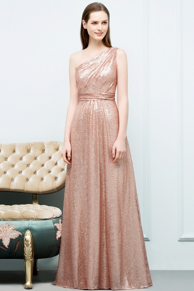 Awesome One Shoulder Sequined A-line Evening Dress_6