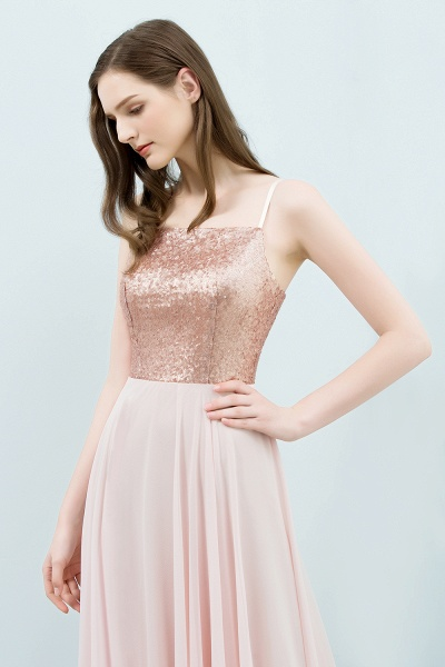 A-line Chiffon Sequined Spaghetti Straps Sleeveless Floor-Length Bridesmaid Dress_4