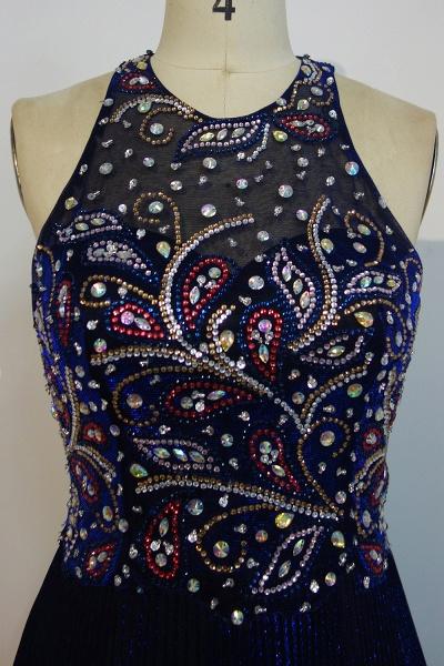JENNA | A-line Crew Sleeveless Floor Length Sequined Crystal Beading Prom Dresses_4