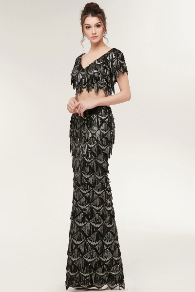 Modest V-neck Sequined Mermaid Evening Dress_5