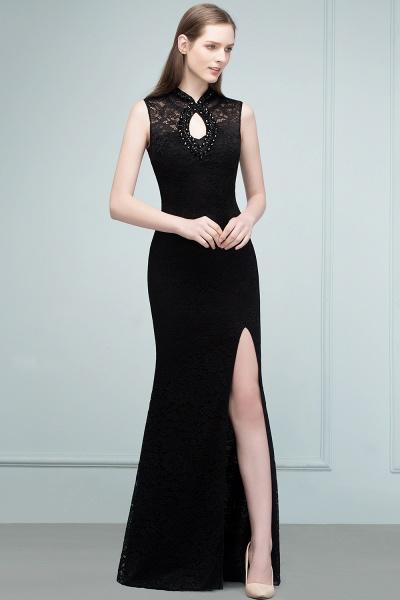 Modest High Neck Lace Mermaid Evening Dress_8