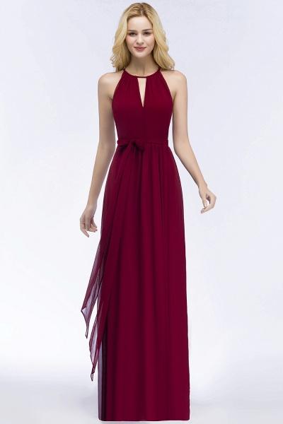 A-line Halter Floor Length Burgundy Bridesmaid Dresses with Bow Sash_14
