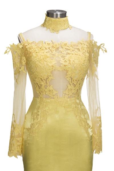 SCARLET | Mermaid Off-shoulder Floor Length Long Sleeves Appliqued Prom Dresses_4