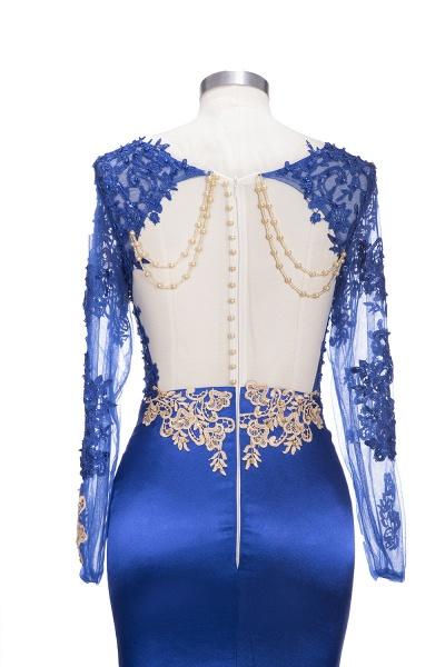 SARAH | Mermaid Long Sleeves Gold-Appliques Sheer Navy Blue Prom Dresses_6