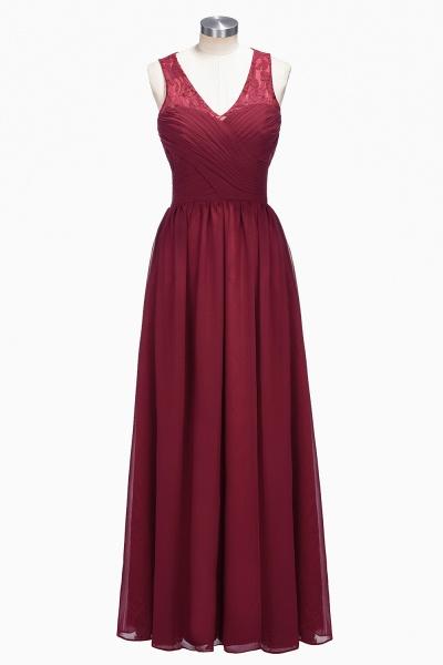 TONI | A-line V-neck Sleeveless Lace Ruffled Chiffon Prom Dresses_4
