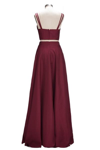 THOMASINA | A-line Sleeveless Two-Piece Spaghetti Straps Burgundy Prom Dresses_3