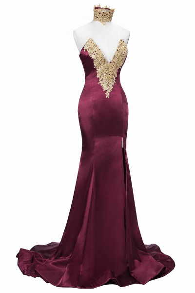 THERESIA | Mermaid High Neck Front-Split Burgundy Lace Appliques Prom Dresses_1