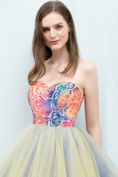 Elegant Strapless Tulle A-line Homecoming Dress_8