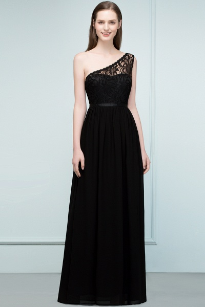 A-line Chiffon Lace One-shoulder Floor-length Bridesmaid Dress Floor Length with Sash_1