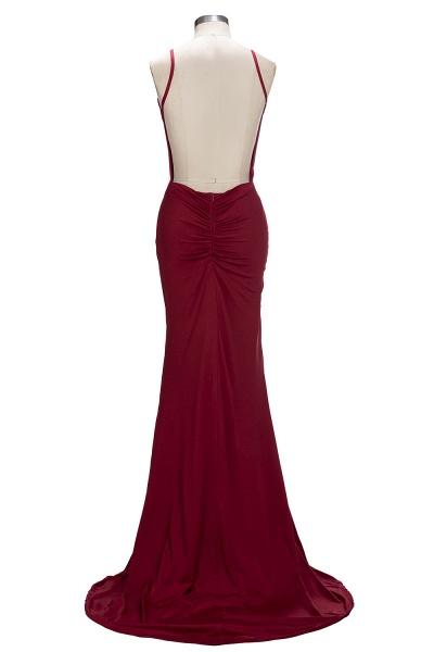 VIDA | Mermaid Long Deep V-Neck Spaghetti Straps Burgundy Prom Dresses_3