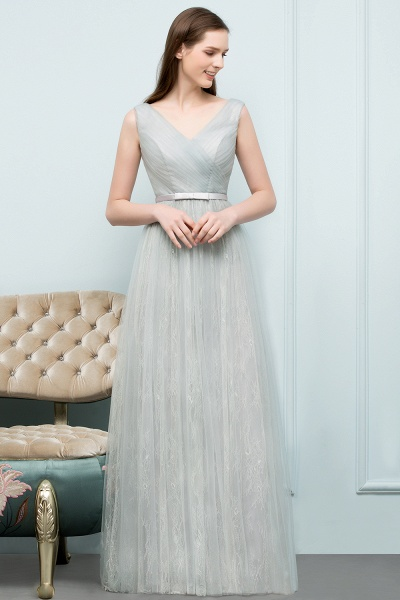 V-neck Lace A-line Floor Length Bridesmaid Dress_1