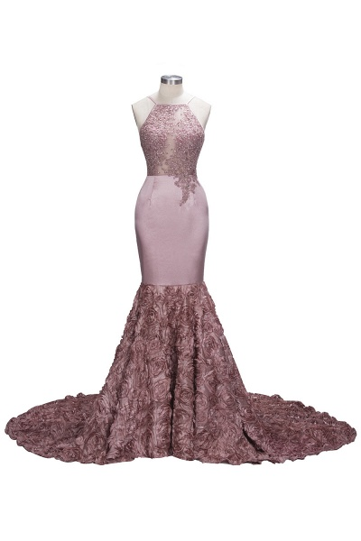 SALOME   Mermaid Long Spaghetti Rose Flowers Pink Beaded Prom Dresses_1