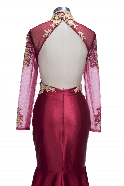 THELMA   Mermaid High Neck Long Sleeves Floor Length Appliqued Prom Dresses_6