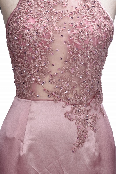 SALOME   Mermaid Long Spaghetti Rose Flowers Pink Beaded Prom Dresses_7