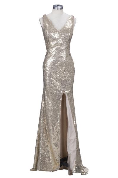VIOLA   Sheath V-neck Long Split Sequined Champagne Prom Dresses_1