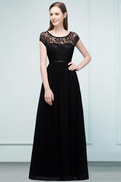 A-Line Chiffon Lace Jewel Short-Sleeves Floor-Length Bridesmaid Dresses with Sash_1