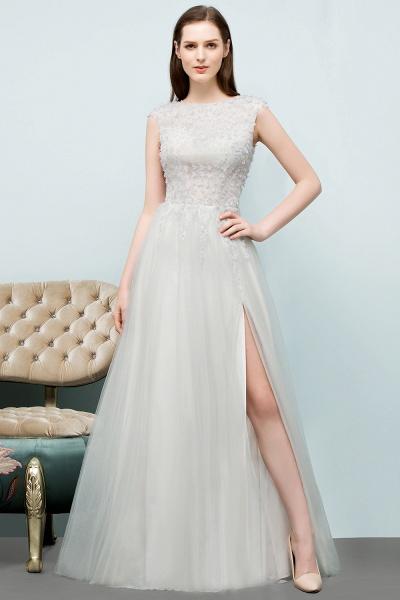 Modest Jewel Tulle A-line Evening Dress_6