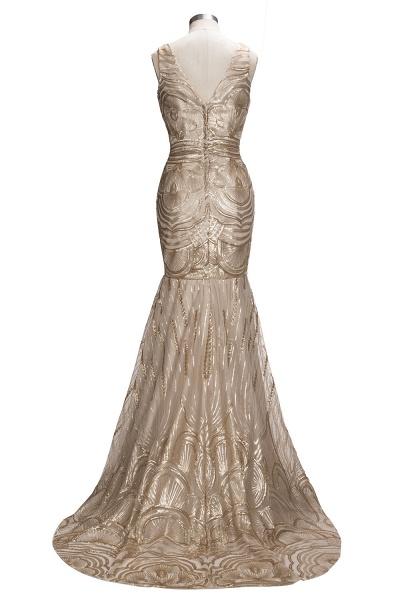 TANYA | Mermaid V-neck Sleeveless Long Champagne Sequins Prom Dresses_3