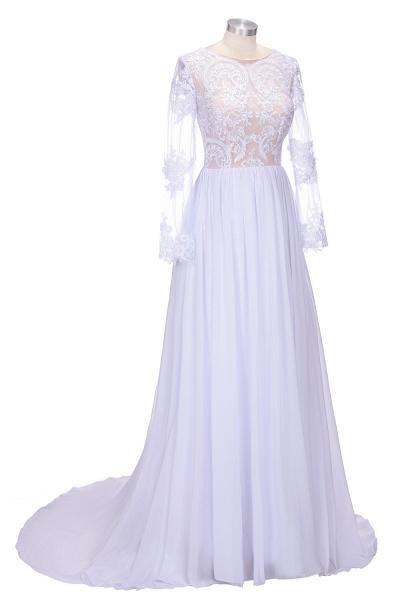 Long Sleeves Lace Appliques A-line Bridesmaid Dress_4