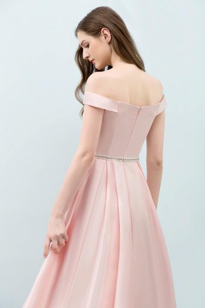 BM0829 A-Line Pink Off The Shoulder Crystal Long Bridesmaid Dress_6