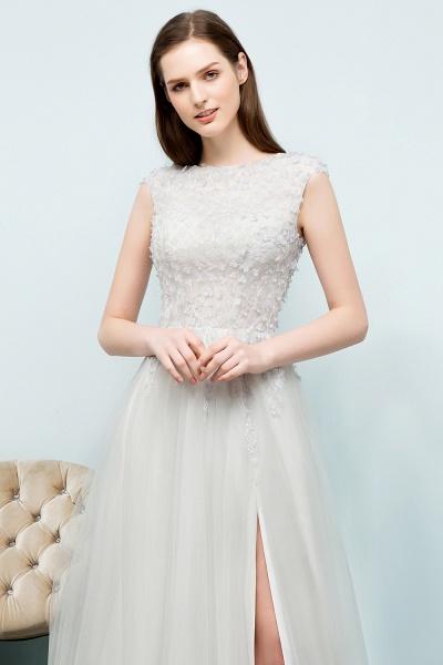Modest Jewel Tulle A-line Evening Dress_4