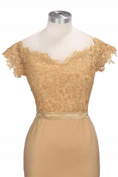 V-neck Short Sleeves Lace Mermaid Floor Length Bridesmaid Dress_8