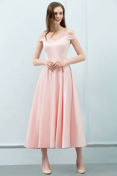 BM0829 A-Line Pink Off The Shoulder Crystal Long Bridesmaid Dress_4