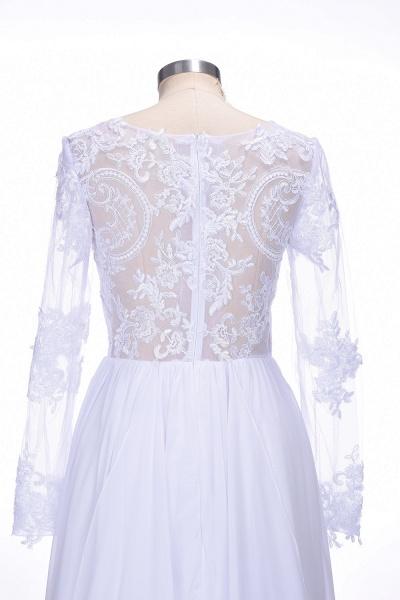Long Sleeves Lace Appliques A-line Bridesmaid Dress_6