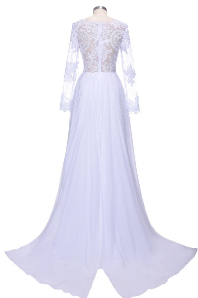 Long Sleeves Lace Appliques A-line Bridesmaid Dress_3