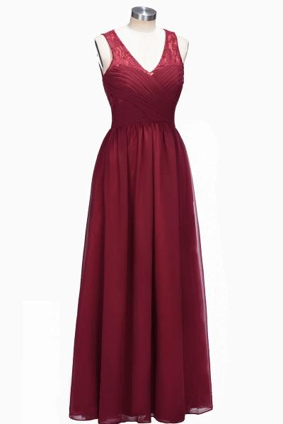 TONI | A-line V-neck Sleeveless Lace Ruffled Chiffon Prom Dresses_1