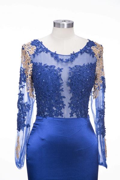 SARAH | Mermaid Long Sleeves Gold-Appliques Sheer Navy Blue Prom Dresses_5