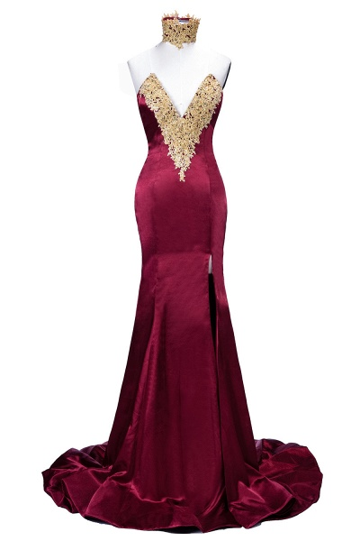 THERESIA | Mermaid High Neck Front-Split Burgundy Lace Appliques Prom Dresses_4
