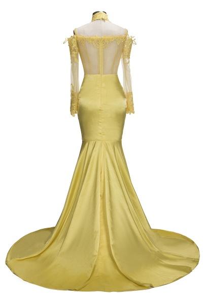 SCARLET | Mermaid Off-shoulder Floor Length Long Sleeves Appliqued Prom Dresses_3