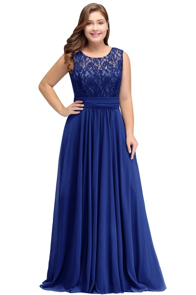 IVY | A-Line Crew Long Plus size Sleeveless Dark Navy Formal Dresses with Lace_2