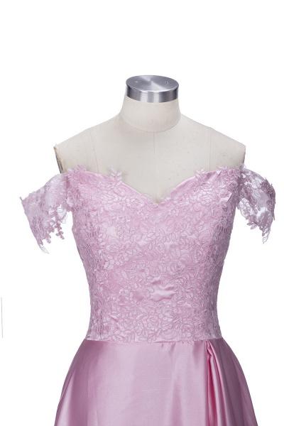 THERESA | A-line Floor Length Split Off-the-Shoulder Lace Prom Dresses_4