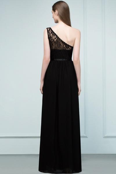 A-line Chiffon Lace One-shoulder Floor-length Bridesmaid Dress Floor Length with Sash_2