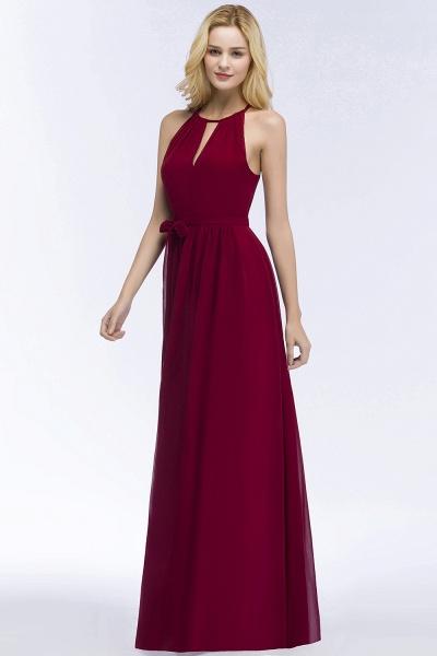 A-line Halter Floor Length Burgundy Bridesmaid Dresses with Bow Sash_11